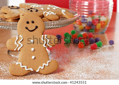 Colorful still life of smiling gingerbread man with gumdrops in background.  Close-up with shallow dof.