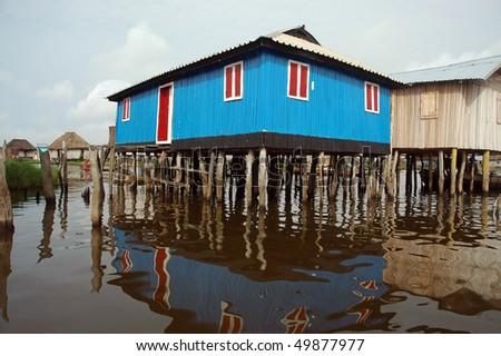 Colorful stilt house of Ganvie in Benin - stock photo