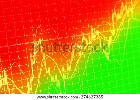 colorful Stock Market Graph and Business Bar Chart