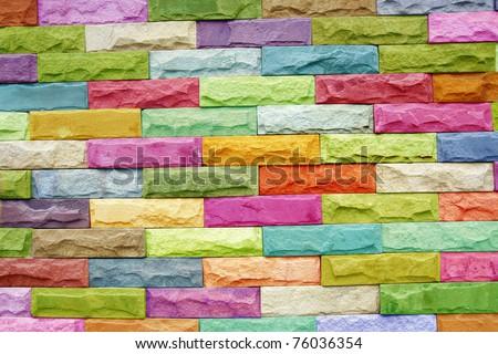 Colorful stone block wall - stock photo