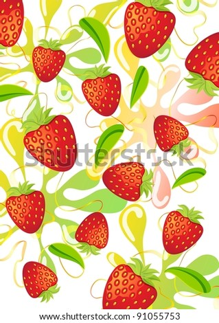 Colorful strawberry background over white - stock photo