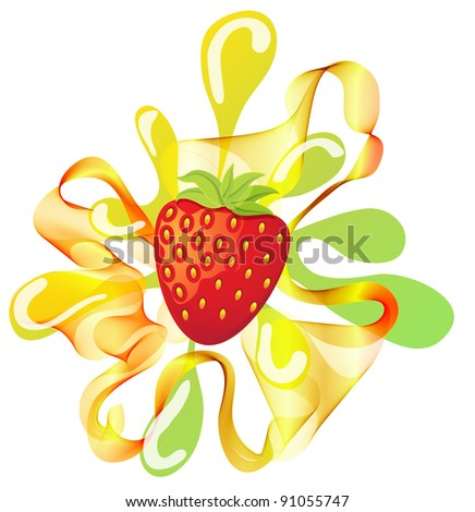 Colorful strawberry background with splash over white - stock photo