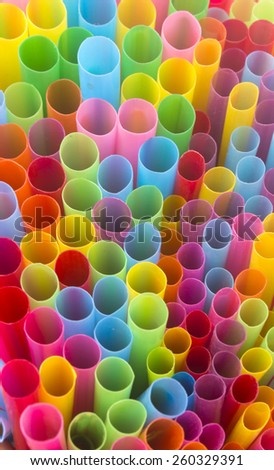 Colorful straws for beverage soft drink - stock photo
