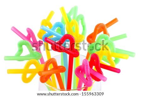 Colorful straws isolate on white.  - stock photo