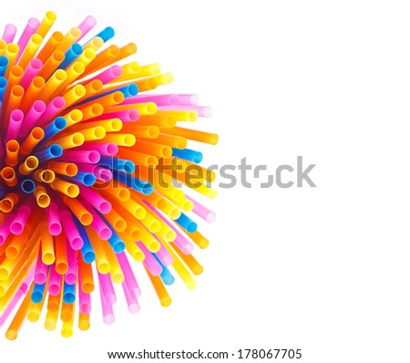 Colorful straws  on a white background - stock photo