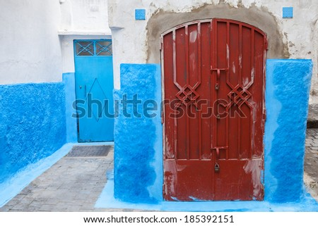 Colorful street fragment. Old Medina, historical part of Tanger city, Morocco - stock photo