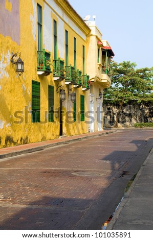 colorful street historic architecture Cartagena Colombia South America - stock photo