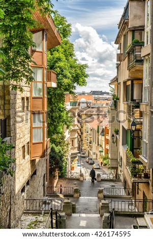 Colorful street in Budapest  - stock photo