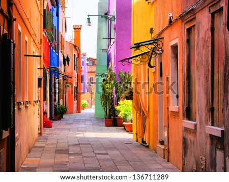 Colorful street in Burano, near Venice, Italy - stock photo