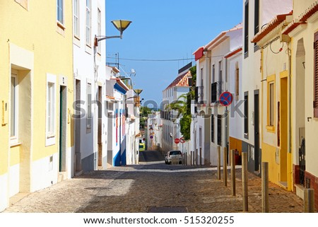 Colorful street in Lagos, Algarve, Portugal