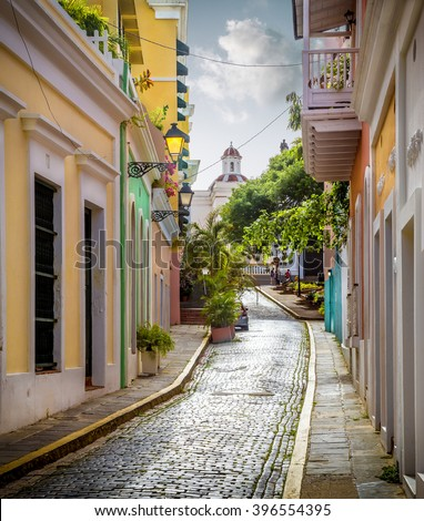 Colorful street in old San Juan, Puerto Rico - stock photo