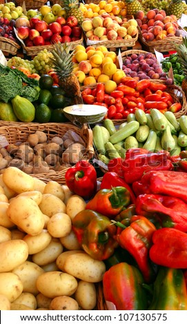Colorful Street market in France - stock photo