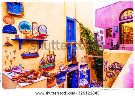 colorful streets of Santorini, artistic picture - stock photo