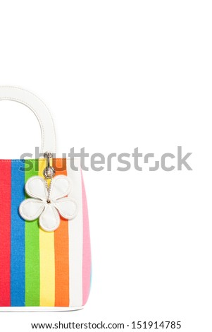 Colorful striped bag, isolated on a white background - stock photo