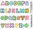 Colorful striped letters alphabet set, isolated on white background ( for vector EPS see image 77232832 ) - stock photo