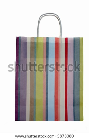 colorful striped shopping bag, isolated on white background - stock photo