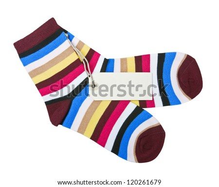 colorful striped socks and tag for the text and the price - stock photo