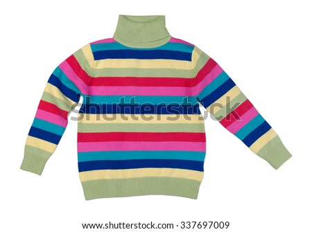 Colorful striped sweater with a high collar. Isolate on white. - stock photo