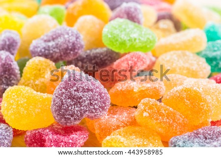 Colorful sugary candy, Multi colour Dessert sweet for child, Sugary candy heart shape - stock photo