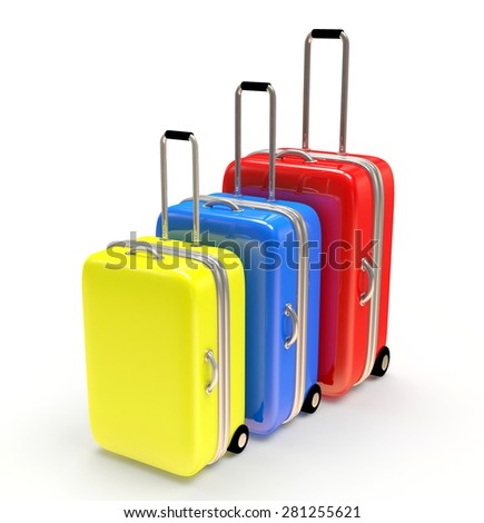 Colorful suitcases isolated on white background