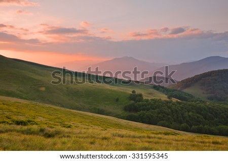 Colorful summer landscape in the Carpathian mountains - stock photo