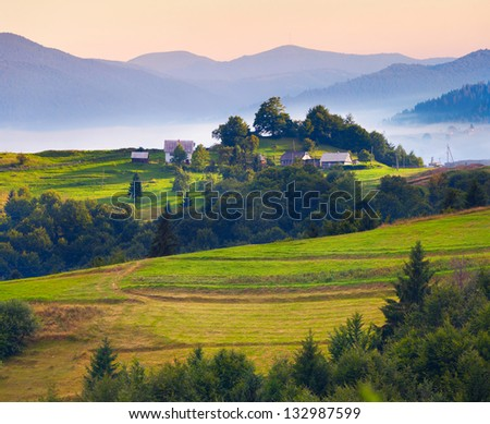 Colorful summer landscape in the Carpathian village. Ukraine, Europe