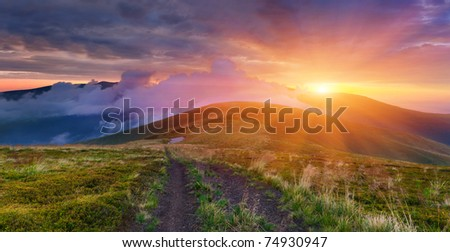 Colorful summer landscape in the mountains. Sunset - stock photo