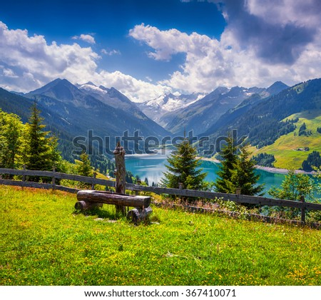 Colorful summer morning on the Speicher Durlassboden lake. View of Richterspitze mountain range in the Austrian Alps. Austria, Europe. - stock photo