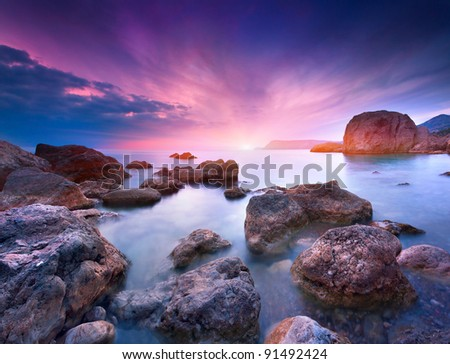 Colorful summer seascape - stock photo