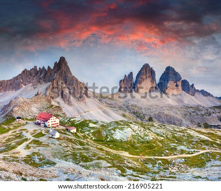 Colorful summer sunrise in Italy Alps, refugio Lacatelli, Tre Cime Di Lavaredo, Dolomites, Europe.