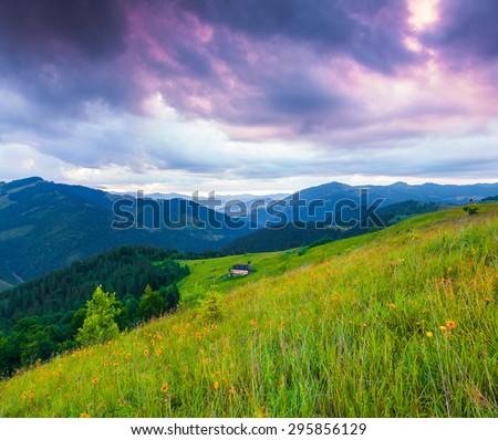 Colorful summer sunrise in the Carpathian mountains. Cosarische ridge, Ukraine, Europe. - stock photo