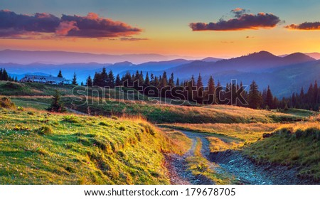 Colorful summer sunrise in the mountains - stock photo