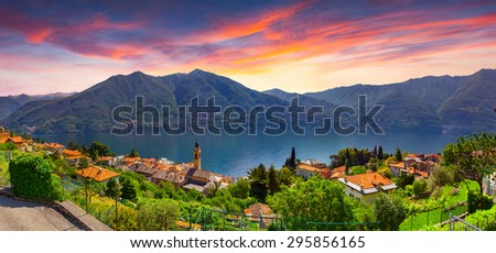 Colorful summer sunrise on the town of Carate Urio, on Lake Como. Alps, Italy, Lombardi, Europe. - stock photo
