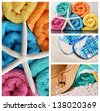 Colorful summertime collage with starfish, beach towels, sun hat, flip-flops and sand. - stock photo
