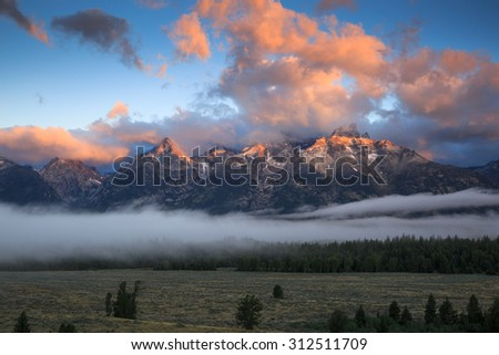 Colorful sunrise over the mountains