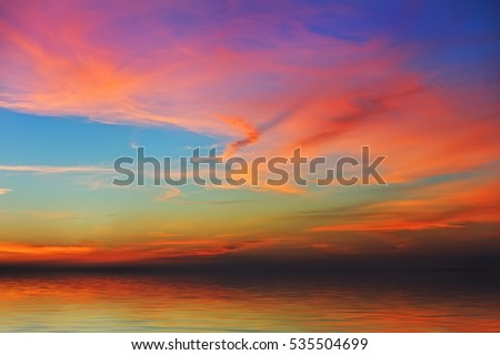 Colorful sunrise over the sea, background/ sunset