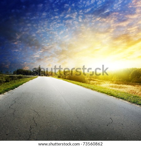 Colorful sunset and road.