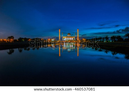 colorful sunset at central mosque,Hatyai,Songkhla,Thailand