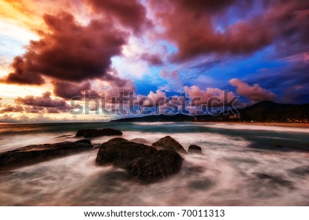 Colorful sunset at the tropical beach - stock photo