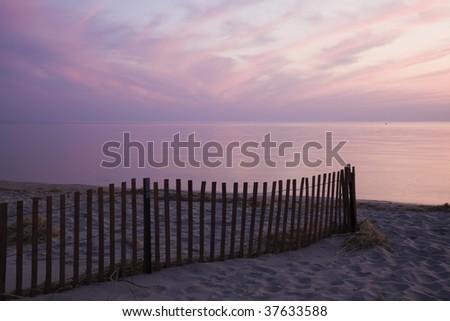 Colorful sunset by Lake Michigan - stock photo