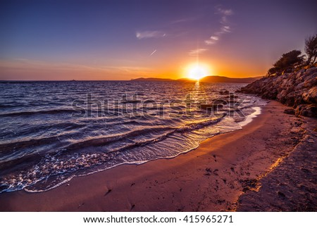 colorful sunset in Alghero foreshore, Sardinia - stock photo