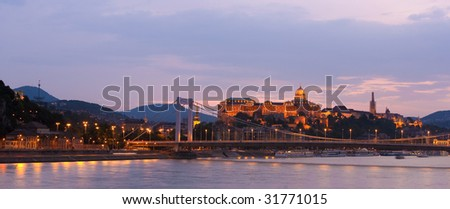 Colorful sunset in Budapest