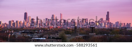 Colorful sunset in Chicago - panoramic view. Chicago, Illinois, USA.