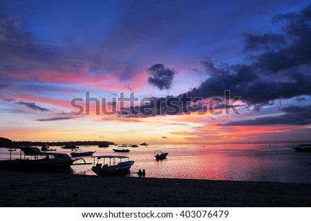 colorful sunset in Nusa Lembongan