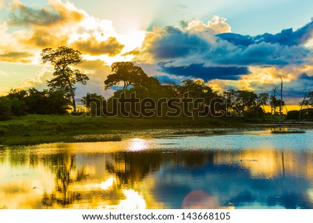 Colorful Sunset in Pantanal River - Pantanal is one of the world's largest tropical wetland areas located in Brazil , South America - stock photo