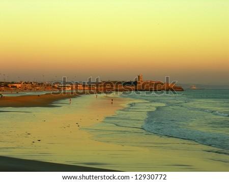 Colorful sunset in the river tagus estuary estoril, cascais portugal - stock photo