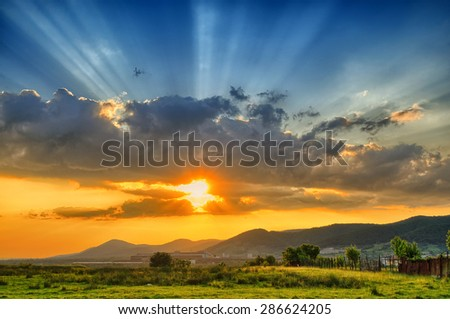 Colorful sunset in the summer - stock photo
