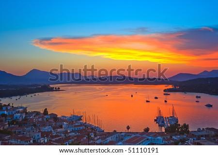 Colorful sunset over Aegean sea, Greece - stock photo