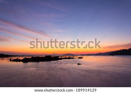 Colorful sunset over Andaman sea at twilight in Lipe island, Thailand  - stock photo