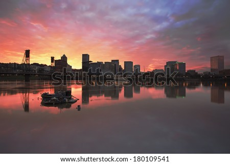 Colorful Sunset Over Portland Oregon Downtown Waterfront City Skyline - stock photo